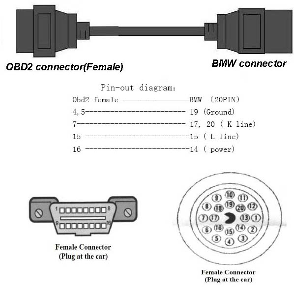 BMW 20 PIN TO 16 PIN FEMALE OBD2 BMW ADAPTOR DIAGNOSTIC